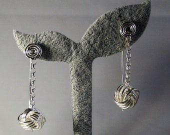 Sterling Silver Drop Earrings - Danish Love Knots