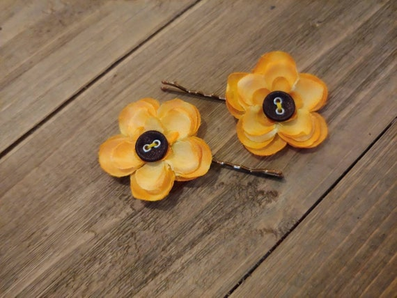 Mustard Yellow Flower Bobby Pins Earthy Hair Pins Nature Etsy