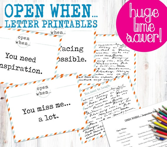 30 OPEN WHEN LETTER Pre-Made Printables... Print Instantly