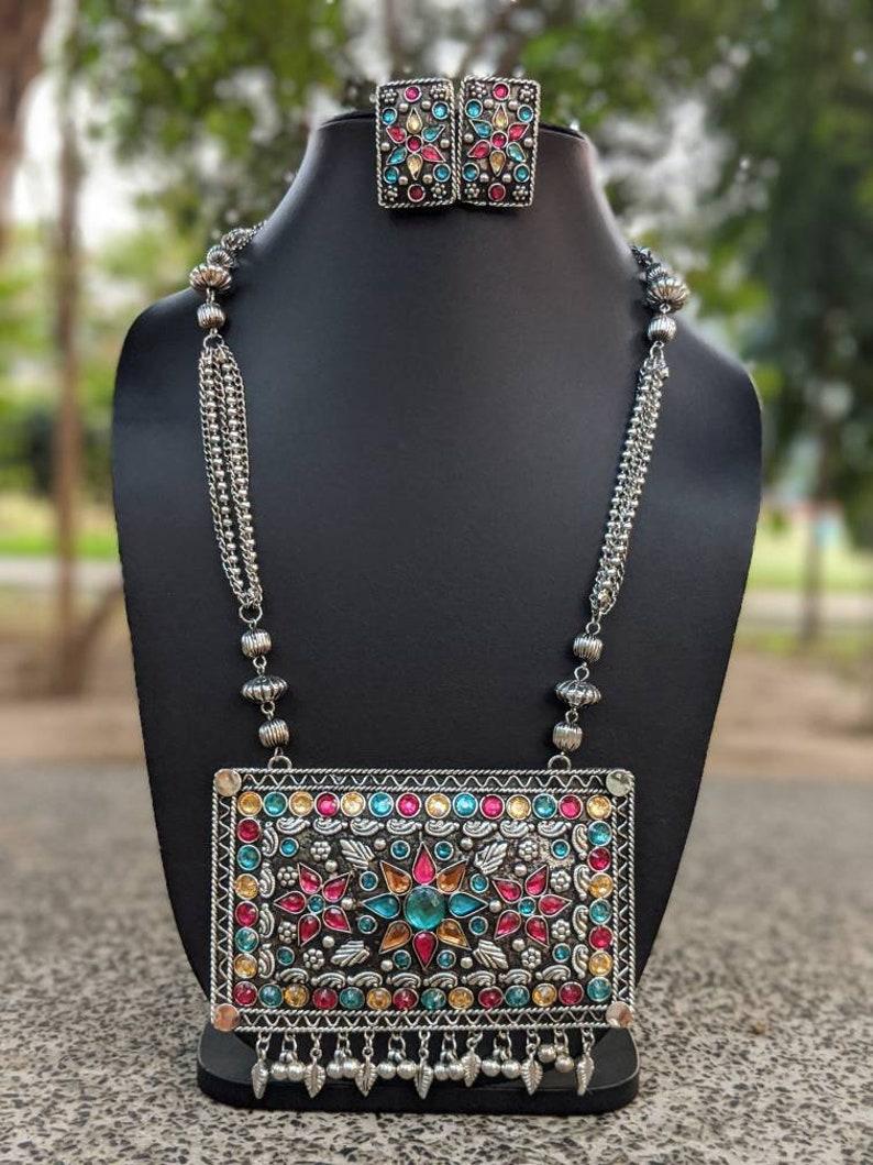 high quality handmade Afghani Jewelery German Silver boho Jewelery,tribal necklace glass stones Afghani necklace and earrings