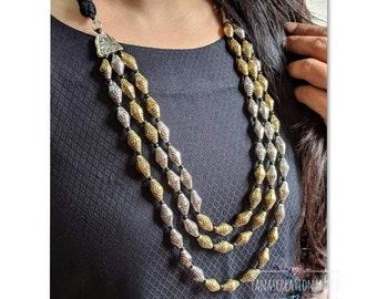 Indian Jewelery, traditional Jewelery, multi-strand Dholki necklace,German silver, alpaca silver