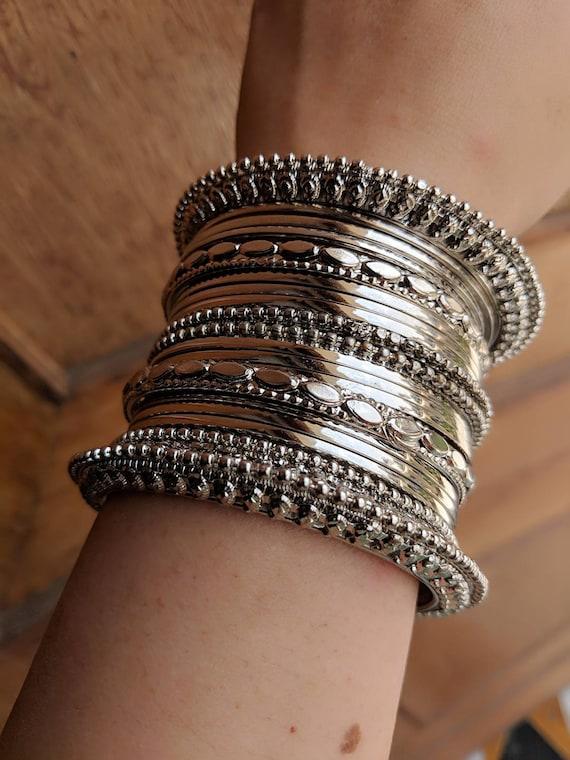 Indian Jewelrysilver Oxidised Jewelryoxidised Bangles Etsy