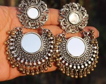 Oxidised jewellery Afghani mirror earrings
