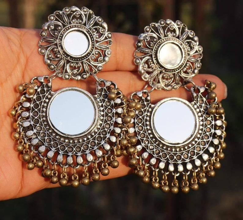 7f29425e9 Oxidised jewellery Afghani mirror earrings | Etsy