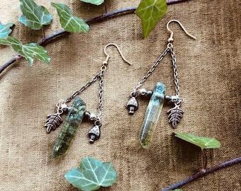 Goblincore Earrings - Moss Quartz, Bronze Mushroom and Leaf Charm Terrarium Inspired Dangle Earrings - Forest Woodland Fairy Jewellery Gift