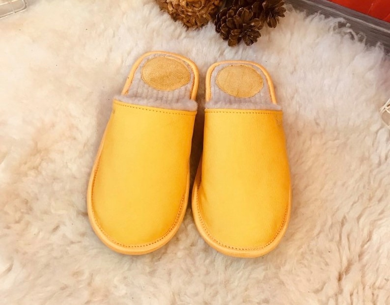 men slippers home slippers warm slippers closed toe slippers merino wool slippers leather slippers Yellow slippers men/'s house shoes