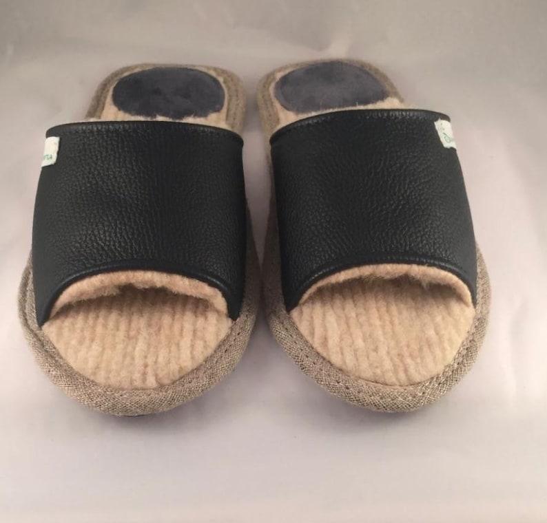 86ed1325b Black slippers men slippers leather slippers merino wool | Etsy