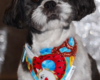 Pool party over collar bandana, collar bandana, slip on dog bandana, summer bandana, bright bandana, dog neckwear
