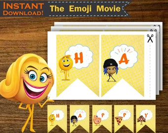 EMOJI MOVIE BANNER Instant Download Printable Emoji Backdrop Happy Birthday Supplies To Print