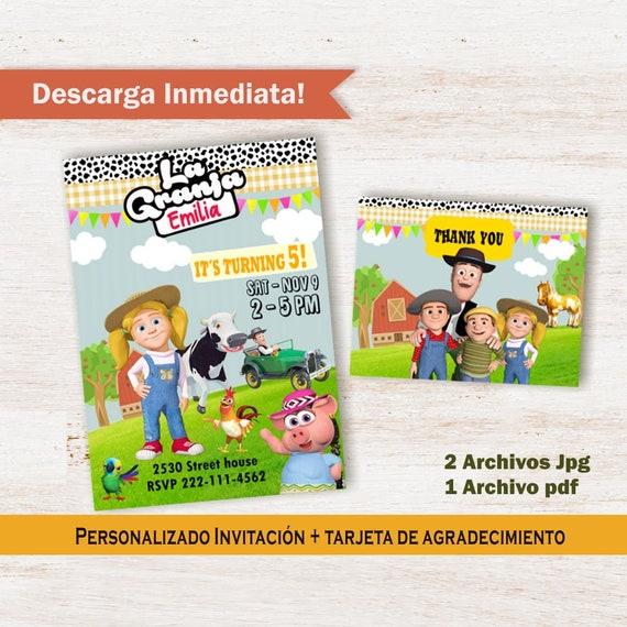 La Granja De Zenon Invitación De Cumpleaños Y Tarjeta De Agradecimiento Susanita Zenon Farm Birthday Party Customized Thank You Card