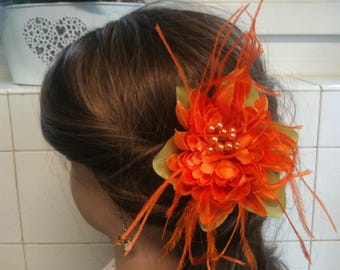 jewelry, feather and flower dahlia/jewelry decorative orange/orange/brooch/hair clip/comb flower jewelry, feather hair/lapel pin / Bobby