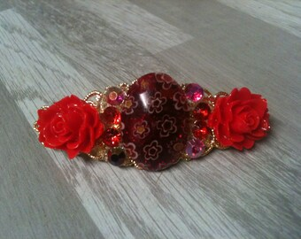 6 cm small hair clip gold flower red/small girl/golden and red hair/small barrette hair clip