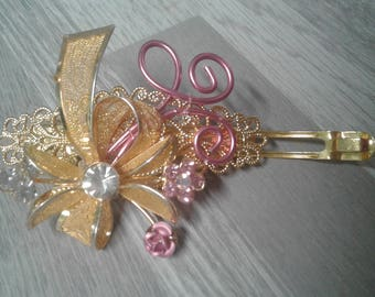 6 cm-small hair clip rhinestone golden/hair bow tie/hair clip filigree/hair clip rhinestone Crystal/rhinestone baby ivory bridal hair clip