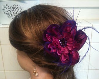 jewelry, feather and flower purple/jewelry decorative purple/violet/brooch/hair clip/comb flower jewelry, feather hair/lapel pin / Bobby