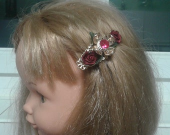 6 cm small hair clip Gold Flower bordeaux/small hair clip for girl/golden and black barrette hair clip/small