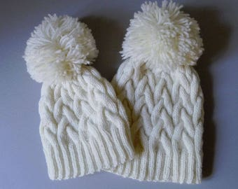 9860fa5ad86 White Cable Knit Wool Pom Pom Hat