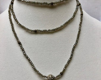 choker gray crystal, necklace beaded, necklace layered gray, choker gray beaded, choker gray layered, necklace gray crystal