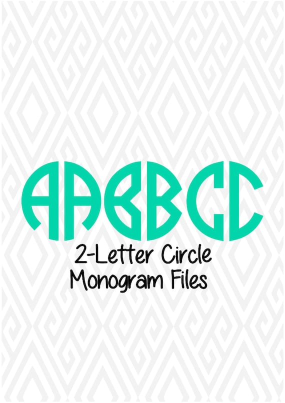 2 Letter Circle Monogram Alphabet Letters Font Cuttable Etsy