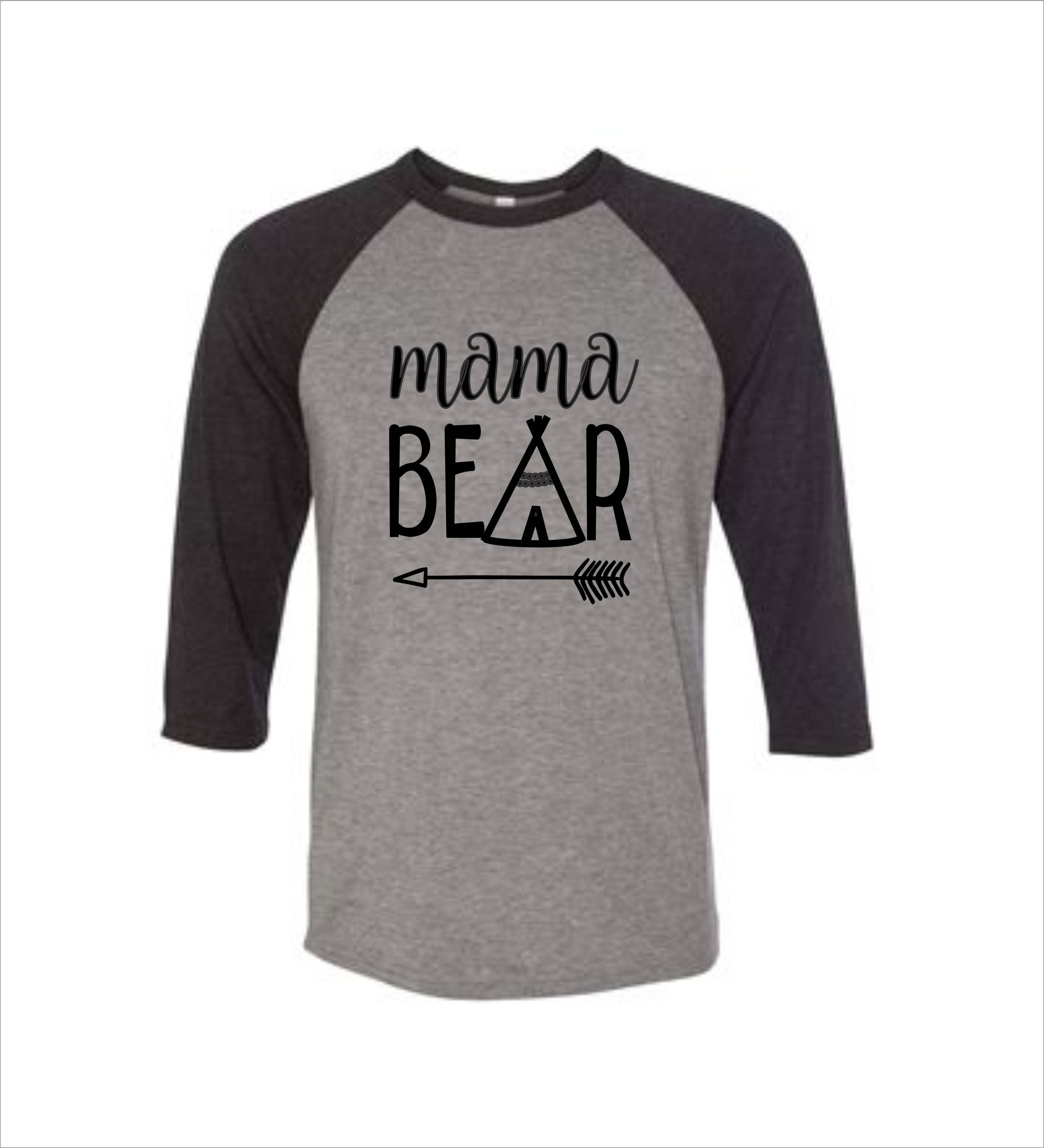 Mama Bear Shirt Bella Canvas 34 Sleeve Shirts Custom Design Etsy