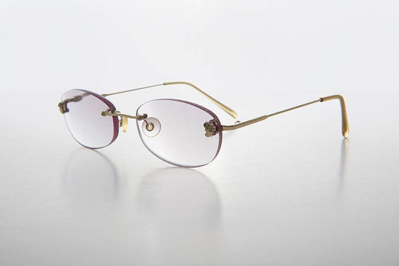 d780bfa15e Gray Colored Lens Reading Glasses   Oval Rimless   1.50   1.75