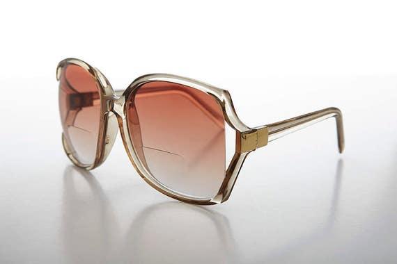a71350671ad Brown Bifocal Reading Sunglass Large Boho   Jackie O Style