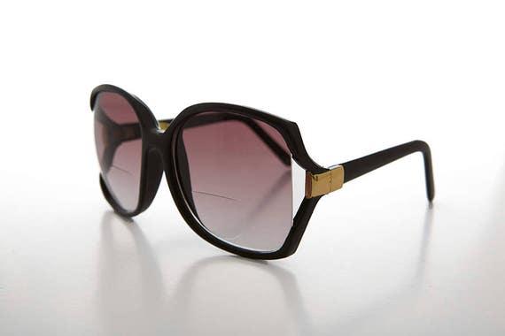 8461ba4da0e Black Bifocal Reading Sunglass   Large Boho   Jackie O Style