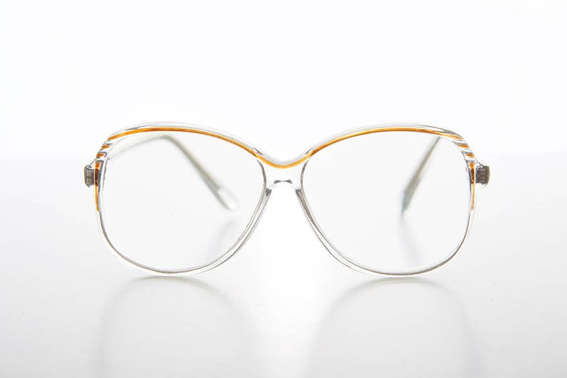 d583494e7d15 Clear Square Reading Glasses Granny Style with Chessnut Accent