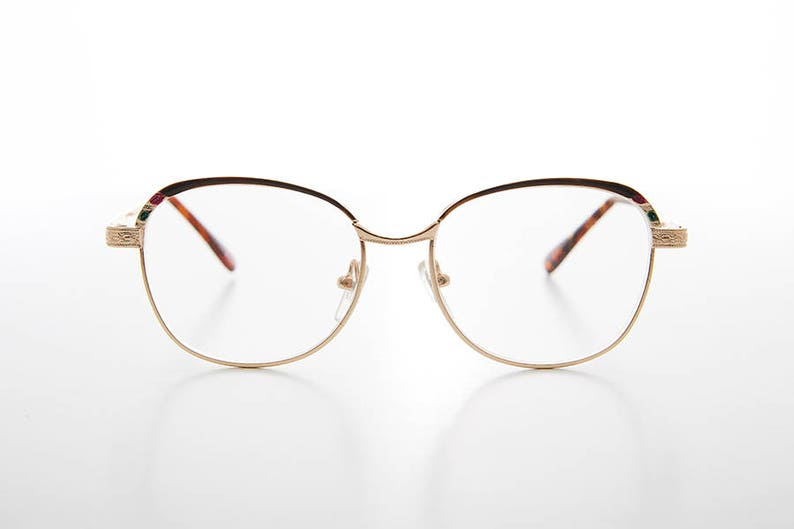 ca995c9bfbc Gold Old-fashioned Women s Reading Glasses with