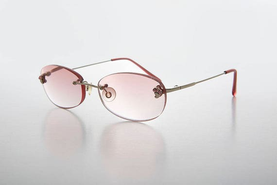 Pink Rimless Lens Reading Glasses  Colored Lens  1.75  3.50  4.00 diopters Lonnie
