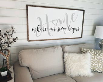 Home is Where Our Story Begins Sign | Wood Signs | Farmhouse Decor | Framed Wood Sign | Wedding Gift | Fixer Upper| Wall Decor