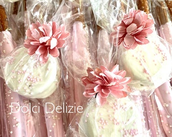 COMBO:  White Oreos, Pink White Chocolate Covered Oreos, Pink Pretzels, Girls Baby Shower Favors, White Pink Chocolate Covered Pretzels