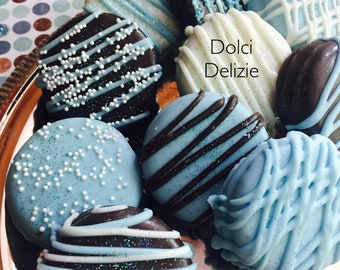 Blue Chocolate Covered Dipped Oreo Cookies, Boys Baby Shower Favors, Boys Blue Baptism Favors, Boys Christening Favors, Blue Cookies