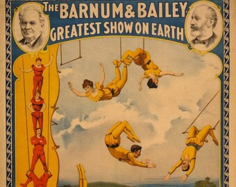 """Vintage circus poster 1894 """"Barnum & Bailey"""" Greatest show on earth retro art design-art and collection"""