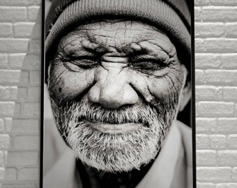 Fine art photography portrait of an old man. Black and white print