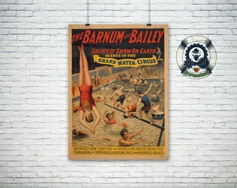 """Vintage circus poster 1895 """"Barnum & Bailey"""" Greatest show on earth retro art design-art and collection"""