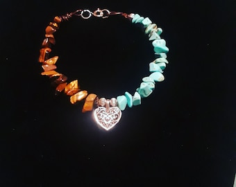 Gemstone Turqoise and Tigers Eye Heart bracelet