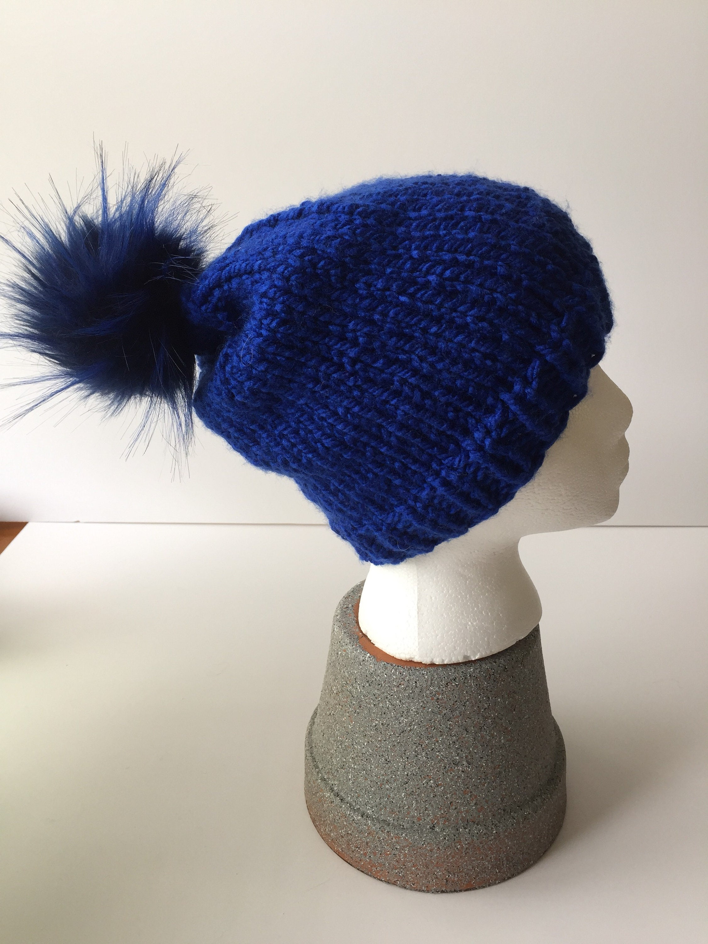 Royal Blue Pom-pom Beanie  150c363d6a0