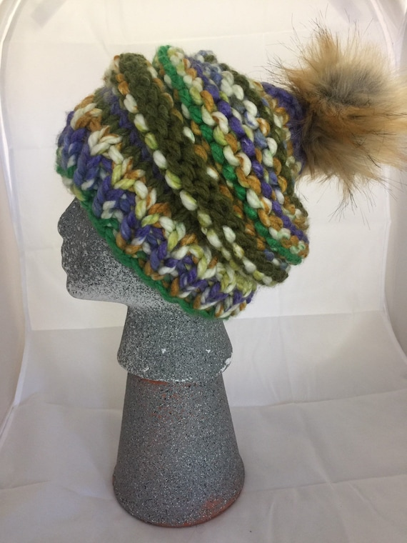 21d0f210120 Multicolored Wool Pom-pom Beanie