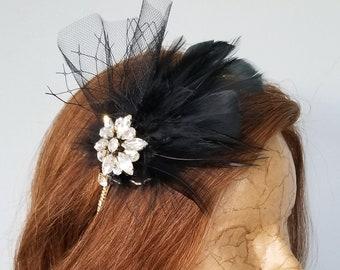 Feather Fascinator | Gem Headpiece | Feather Headband | Hair Adornment