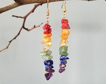 Multi-Tone Wire Wrapped Earrings | Assorted Gemstones