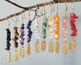 Gemstone Wire Wrap Earrings | Assorted Stones | Chain Detail