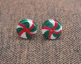 Christmas Spearmint Candy (Green/Red) Stud Earrings, Polymer Clay, Handmade