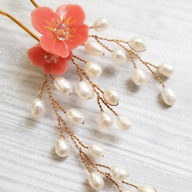 Bridal Headpiece Bridal Hair Accessory Wedding Hair Adornment Floral Hairpin Freshwater Pearl Hairpin
