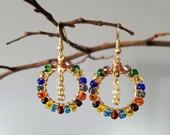 Rainbow Beaded Hoop Earrings | Small | Gold or Silver