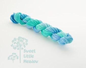 Mini DK skein - Beautiful hand dyed blue and green hank superwash merino wool