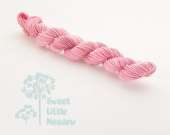 Mini DK skein - Beautiful hand dyed light pink hank superwash merino wool