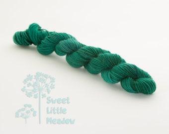 Mini skein - Beautiful hand dyed dark forest green hank of sock weight superwash merino wool