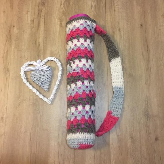 Free Shipping Crochet Yoga Mat Bag Pink Grey White Etsy