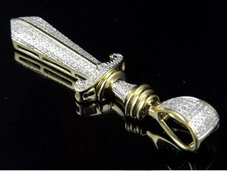 Sword Charm Round Cut Diamond Pendant  Men/'s Diamond Pendant  Unique Party Wear Diamond Pendant  Birthday Gift Pendant  Occasion Pendant