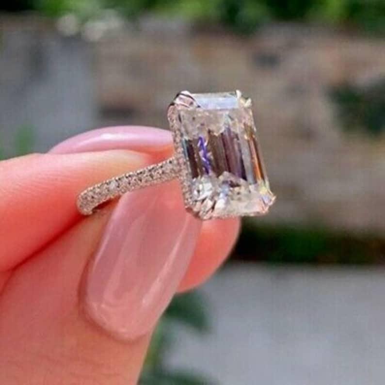 Hidden Halo Emerald Cut Diamond Ring  Solitaire Accents Diamond Ring  Valentine Diamond Ring For Women  Wedding Engagement Diamond Ring